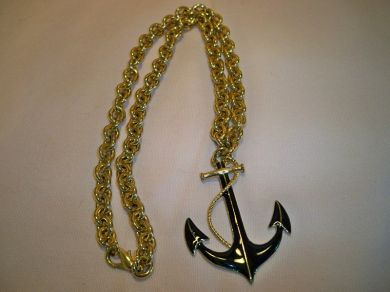 Vintage Navy Anchor Pendant Chain Link Necklace