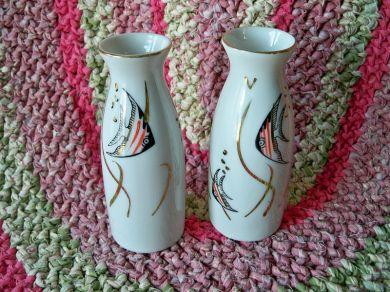 Vintage Porcelain Angel Fish Vases Japan
