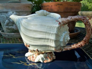 Vintage Ceramic Conch Shell Sea Shell Nautical Teapot Ocean Fitz and Floyd
