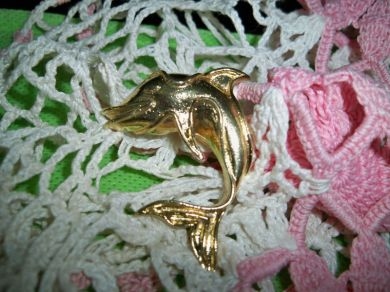 Vintage Coro Dolphin Brooch Nautical Jewelry Ocean