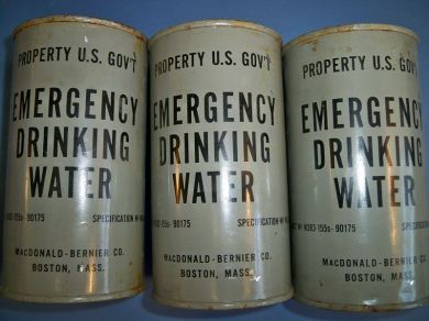 Vintage Emergency Navy Canned Drinking Water 3 Cans