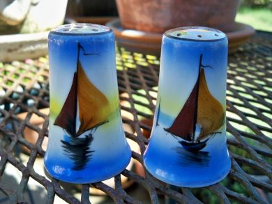 Vintage Nautical Sailboat Salt And Pepper Shakers Japan