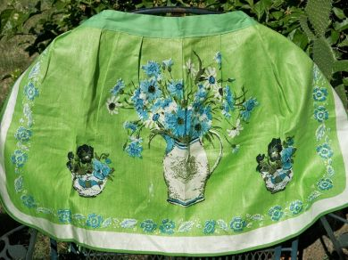 Vintage Nautical Floral Sailing Ship Apron Mint