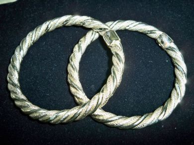 Vintage Nautical Silvertone Rope Bangle Bracelets Pair