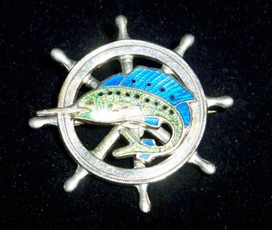 Antique Vintage Enameled 1930s Sailfish Ships Wheel Brooch Nautical Jewelry