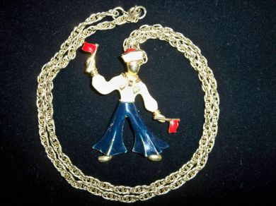 Vintage Enameled Sailor Pendant Golden Rope Necklace Nautical Jewelry