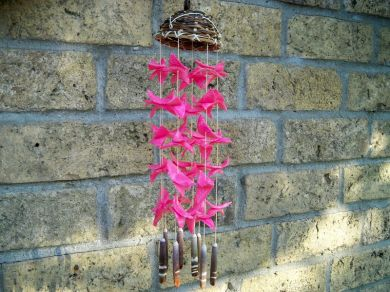 Vintage Pink Seashell Cowry Shell Wind Chime