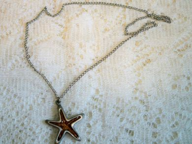 Vintage Starfish Pendant Necklace Pewter Copper