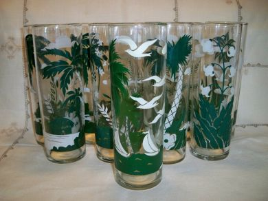 Vintage Tropical Island Glassware Set of 10 Palm Trees Sailboat Seagulls Tiki Bar