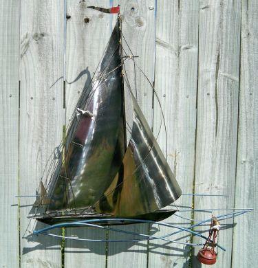 Famous TheVintageCrowsNest - Vintage Sailboat Nautical Metal Wall Art  BM74
